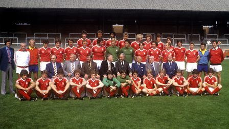 Viv Anderson's Nottingham Forest pictured at the start of1978-79 season after winning the league tit
