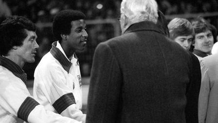 England's Viv Anderson, on his debut, the first black player to represent England in a full internat