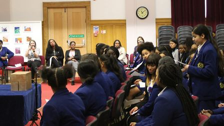 Convent of Jesus and Mary Language College stands to make a speech at the school's first Student Par