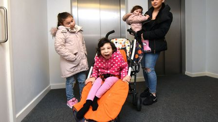 Jeyda Yusuf with daughters Kaiya (8), Aaliyah (12) and Anaya (2) find it diificult to get out when t