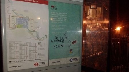 Nazi graffiti appears on a Willesden Green bus shelter. Picture: Robert Nicholas