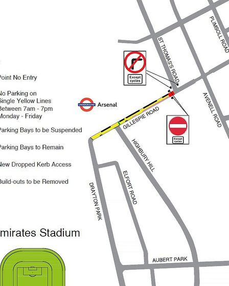 An image of the Gillespie Road one-way trial. Picture: Islington Council