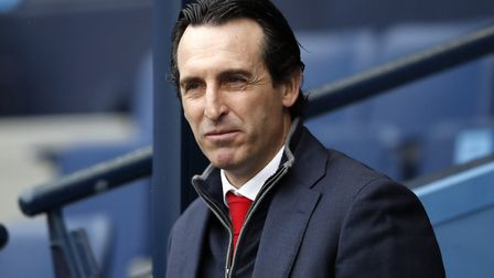 Arsenal manager Unai Emery arrives at the Etihad Stadium during the Premier League match at the Etih