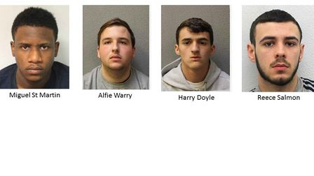 Custody images (from left) of Miguel St Martin, Aflie Warry, Harry Doyle, Reece Salmon and Henry His