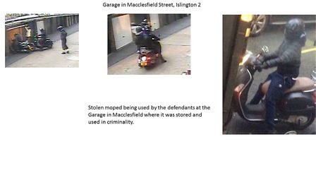 A stolen moped being driven in Macclesfield Street Islington. Picture: Met Police