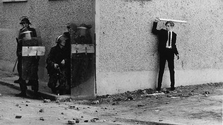 Catholic youth threatening police in Londonderry, 1971. Picture: Don McCullin