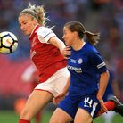 Arsenal Women's Leah Williamson (left) and Chelsea Ladies' Fran Kirby during the SSE Women's FA Cup