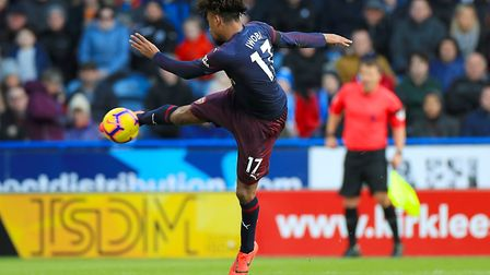 Arsenal's Alex Iwobi scores his side's first goal of the game during the Premier League match at the