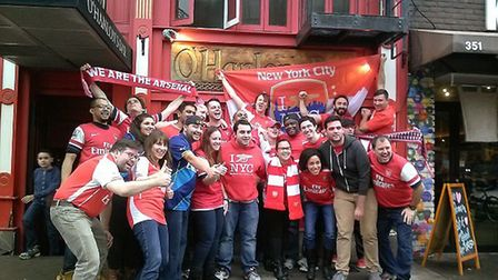 Arsenal supporters outside O'Hanlon's in New York's East village