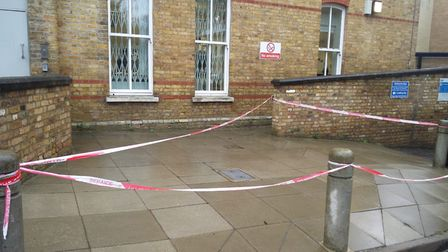 A cordon at Highgate Mental Health Centre on Monday morning following the fatal fire. Picture: Sam V