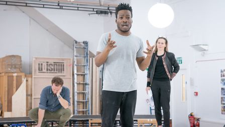 The cast in rehearsals for Shipwreck at the Almeida. Picture: Marc Brenner.