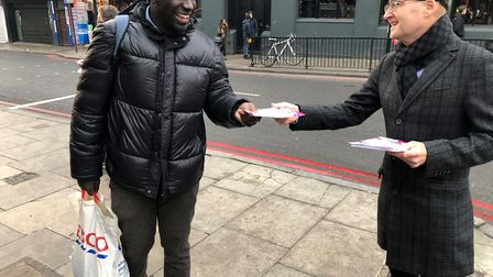 Founder of Debt Hacker Alan Campbell leafleting around Finsbury Park. Picture: Islington Council