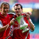 Arsenal's Ray Parlour (left) and Fredrik Ljungberg celebrate with the FA Cup in 2002