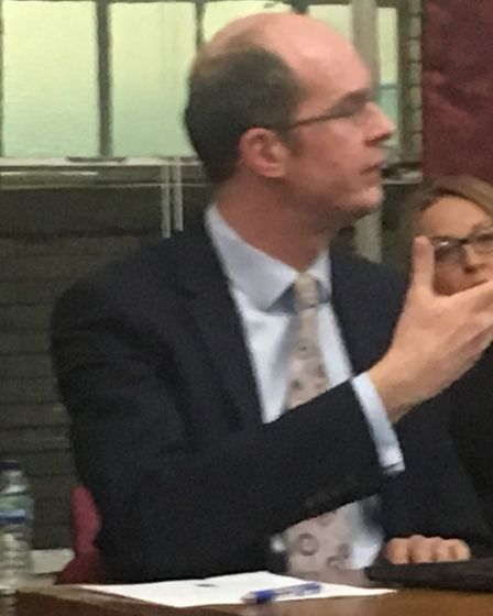 Parters' chief exec Tom Irvine at a town hall scrutiny meeting. Picture: Lucas Cumiskey