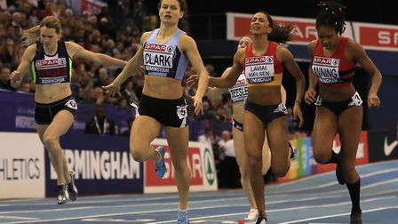 Zoey Clark (second left) wins the Women's 400 metres final at the British Indoor Championships (pic: