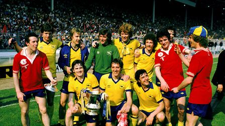 The Arsenal team celebrate with the FA Cup: (back row, l-r) Steve Walford, David Price, Pat Jennings