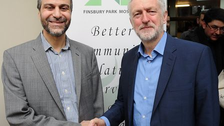 Finsbury Park Mosque open day 2017: chairman Mohammed Kozbar and Jeremy Corbyn