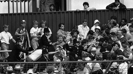 Truncheons at the ready, police officers tackle unruly fans of Glasgow Rangers at White Hart Lane gr