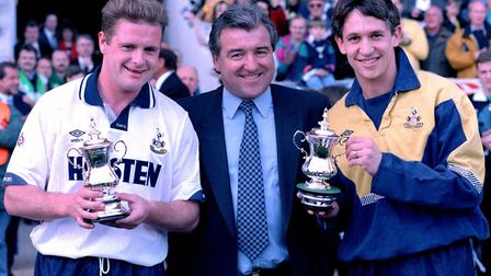 Tottenham chairman Terry Venables with England players Paul Gascoigne and Gary Lineker at White Hart