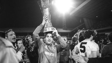 Tottenham Hotspur's young goalkeeper Tony Parks with the 1984 UEFA Cup trophy at White Hart Lane (pi