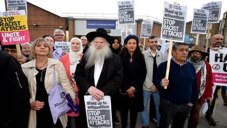 Supporters and speakers gather outside Highbury and Islington Station on February 21, 2019 at a rall