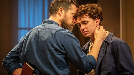 Laurie Kynaston as Nicolas and John Light as Pierre in The Son at The Kiln picture by Marc Brenner