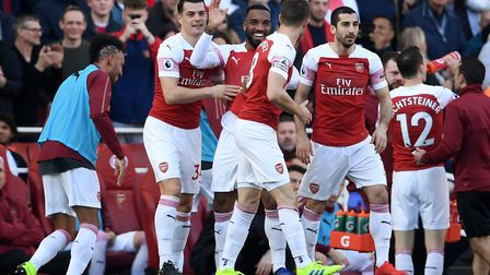Arsenal's Alexandre Lacazette celebrates scoring his side's first goal of the game during the Premie