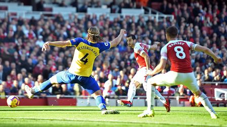 Arsenal's Henrikh Mkhitaryan scores his side's second goal of the game during the Premier League mat