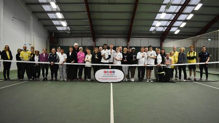 Competitors face the camera at the Metro Blind Sports tennis tournament in Islington