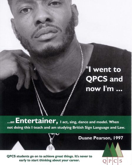 A poster ofDuane Pearson as part of a career campaign to inspire Queen's Park Community School pupil