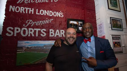 Journalist and author Layth Yousif interviews former Arsenal footballer Kevin Campbell at a Q&A even