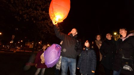 Family and friends let off lanterns in memory of Tracey Wilson on her birthday. Picture: Polly Hanco
