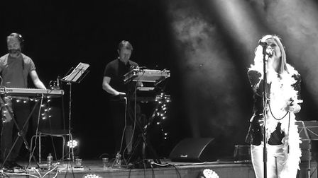 Bob Stanley, second left, on stage with Saint Etienne. Picture: Steven Kemp