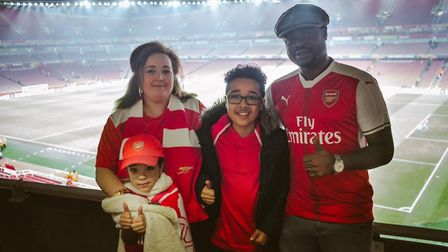 Mum Amy-Rose, brother Rio, brave Tye and dad Donald Agala at the Emirates