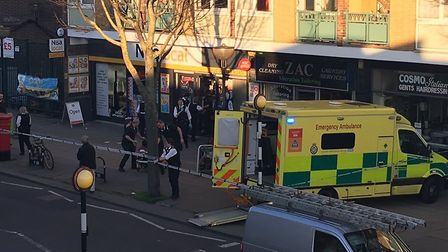 The scene of the stabbing in the Caledonian Road. Picture: @999London