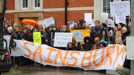 People protesting outside the Old Highbury Vale Police Station against Sainsbury's fourth attempt to