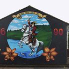 A loyalist mural in Belfasts Lower Shankill Road celebrating victory at the Battle of the Boyne. Ph