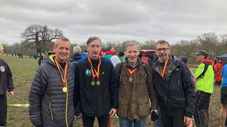 The victorious Highgate Harriers M50 team at the Middlesex Cross-Country Masters Championships (pic: