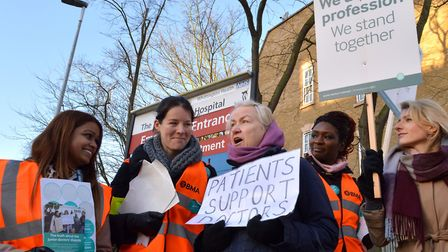 Striking junior doctors outside the Whittington Hospital in Archway are joined by patient Jan Polloc