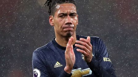 Manchester United's Chris Smalling applauds the fans after the Premier League match at the Emirates.