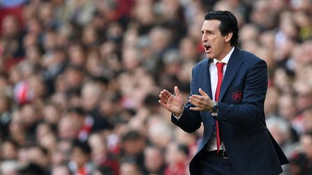 Arsenal manager Unai Emery during the Premier League match at the Emirates Stadium, London.