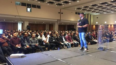 """Aziz """"Com"""" Mirza addresses Leverage members at an event in November 2017. Picture: Submitted"""