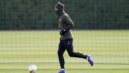 Arsenal's Mesut Ozil in action during the training session at London Colney (pic Bradley Collyer/PA)