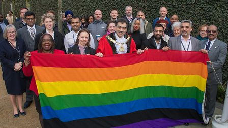 Brent councillors and members of the community with the rainbow LGBT+ flag to mark LGBT+ History Mon