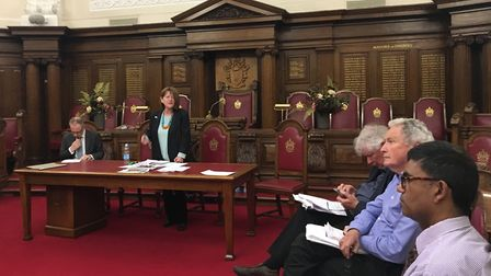 Tricia Barnett and, left, Cllr Richard Watts at the meeting. Picture: Abigail Buchanan