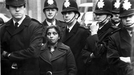 Jayaben Desai is surrounded by police on the picket line in Chapter Road, Dollis Hill