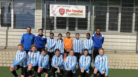 The Brent under-12 girls' football team drew 1-1 with Arsenal (pic: Brent Schools' FA)