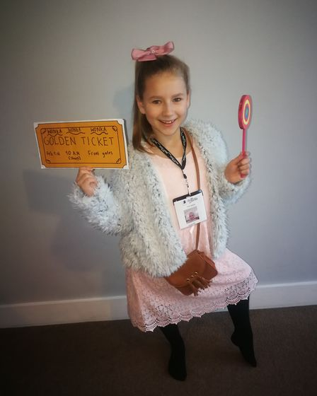 Ieva Savickaite, from Leopold's Primary School, dressed up as Veruca Salt for World Book Day
