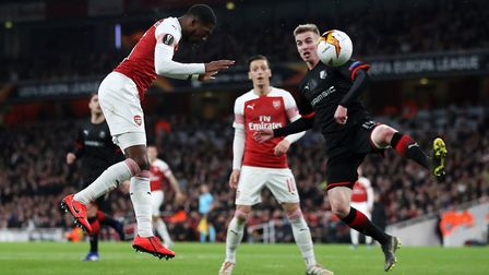 Arsenal's Ainsley Maitland-Niles scores his side's second goal of the game during the Europa League