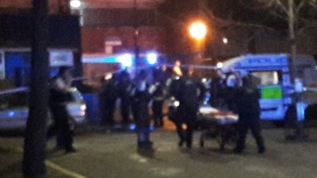 Police on the scene after a mass brawl in Carnoustie Drive. Picture: @Briggs741
